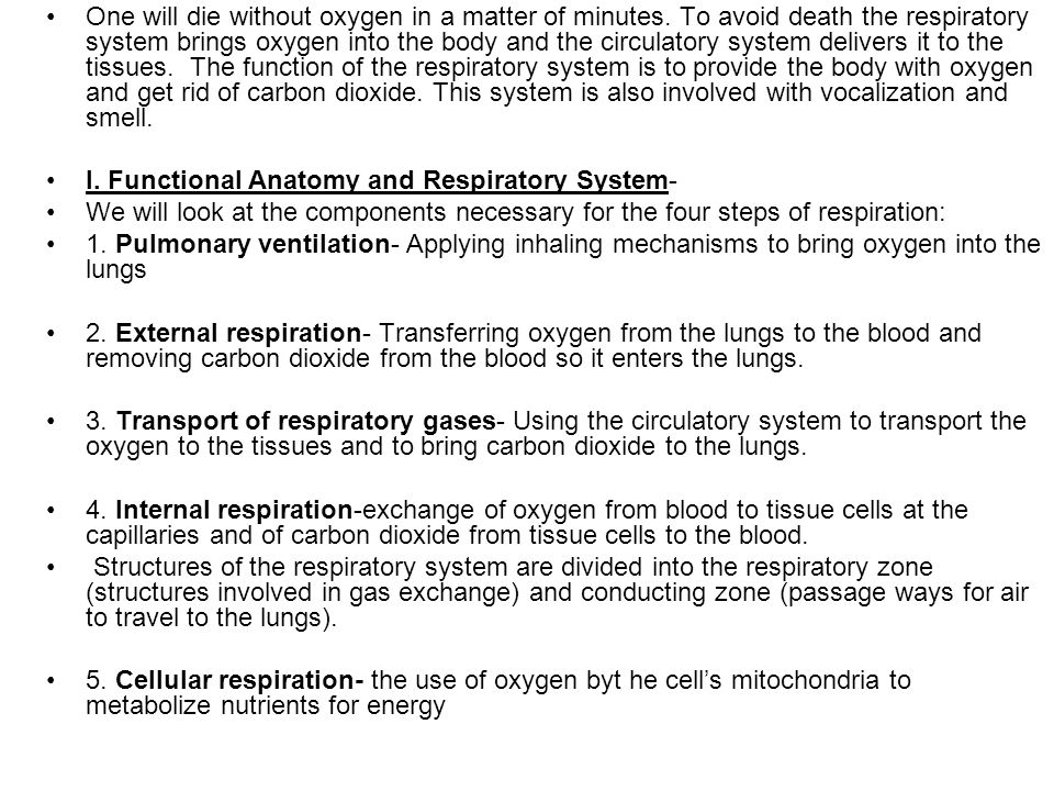One will die without oxygen in a matter of minutes. To avoid death the respiratory system brings oxygen into the body and the circulatory system deliv