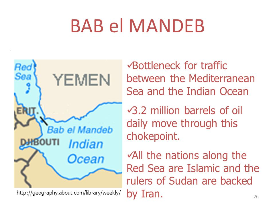 BAB el MANDEB 26 Bottleneck for traffic between the Mediterranean Sea and the Indian Ocean 3.2 million barrels of oil daily move through this chokepoi