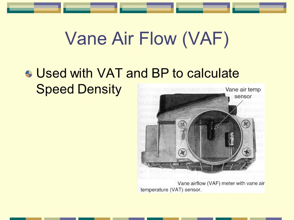 Vane Air Flow (VAF) Used with VAT and BP to calculate Speed Density