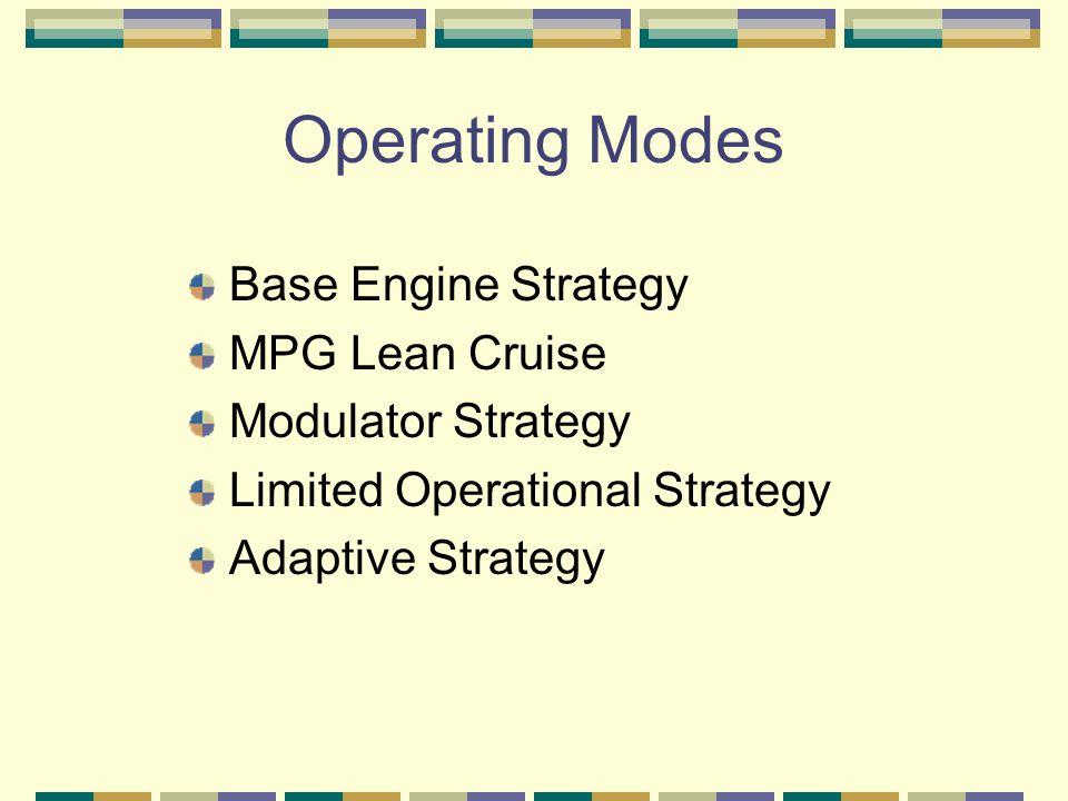 Operating Modes Base Engine Strategy MPG Lean Cruise Modulator Strategy Limited Operational Strategy Adaptive Strategy