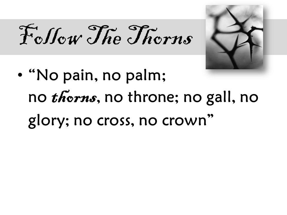 Follow The Thorns No pain, no palm; no thorns, no throne; no gall, no glory; no cross, no crown