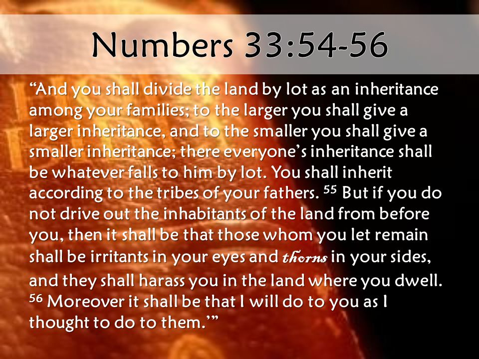 And you shall divide the land by lot as an inheritance among your families; to the larger you shall give a larger inheritance, and to the smaller you shall give a smaller inheritance; there everyone's inheritance shall be whatever falls to him by lot.
