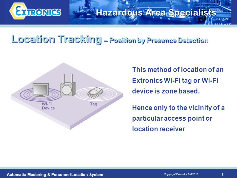 8 Copyright Extronics Ltd 2010 Automatic Mustering & Personnel Location System This method of location of an Extronics Wi-Fi tag or Wi-Fi device is zo