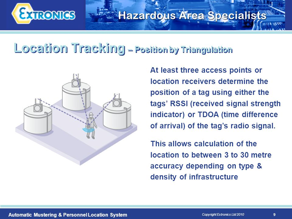 9 Copyright Extronics Ltd 2010 Automatic Mustering & Personnel Location System At least three access points or location receivers determine the positi