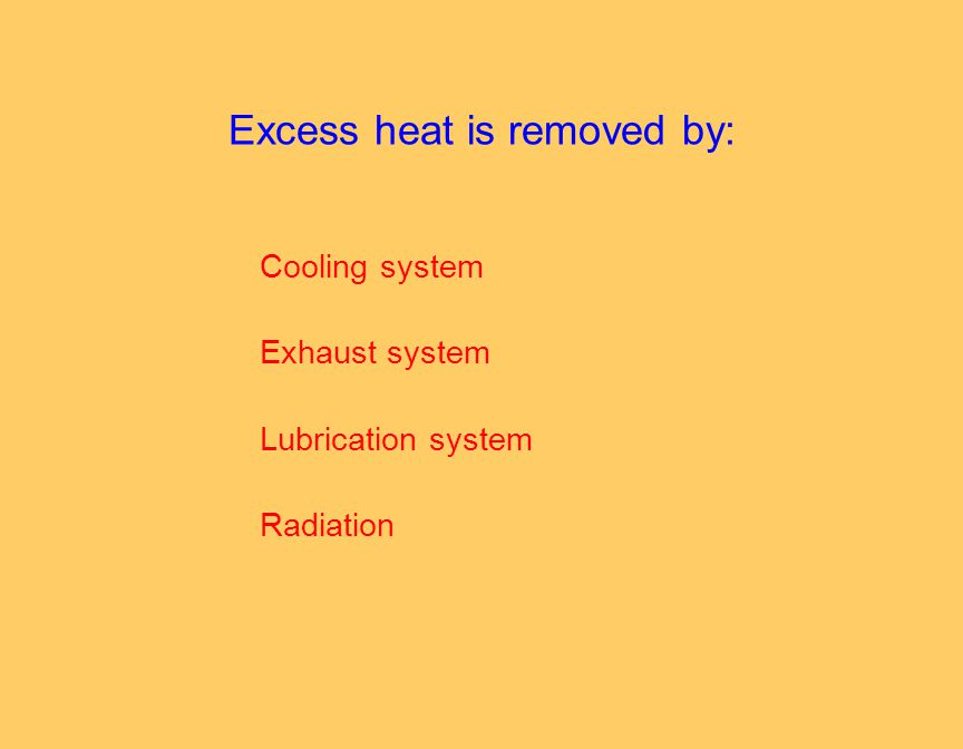Excess heat is removed by: Cooling system Exhaust system Lubrication system Radiation