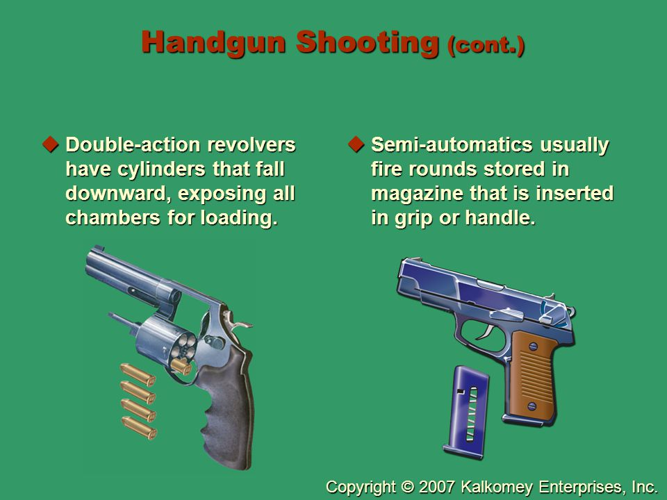 Copyright © 2007 Kalkomey Enterprises, Inc. Handgun Shooting (cont.)  Double-action revolvers have cylinders that fall downward, exposing all chamber