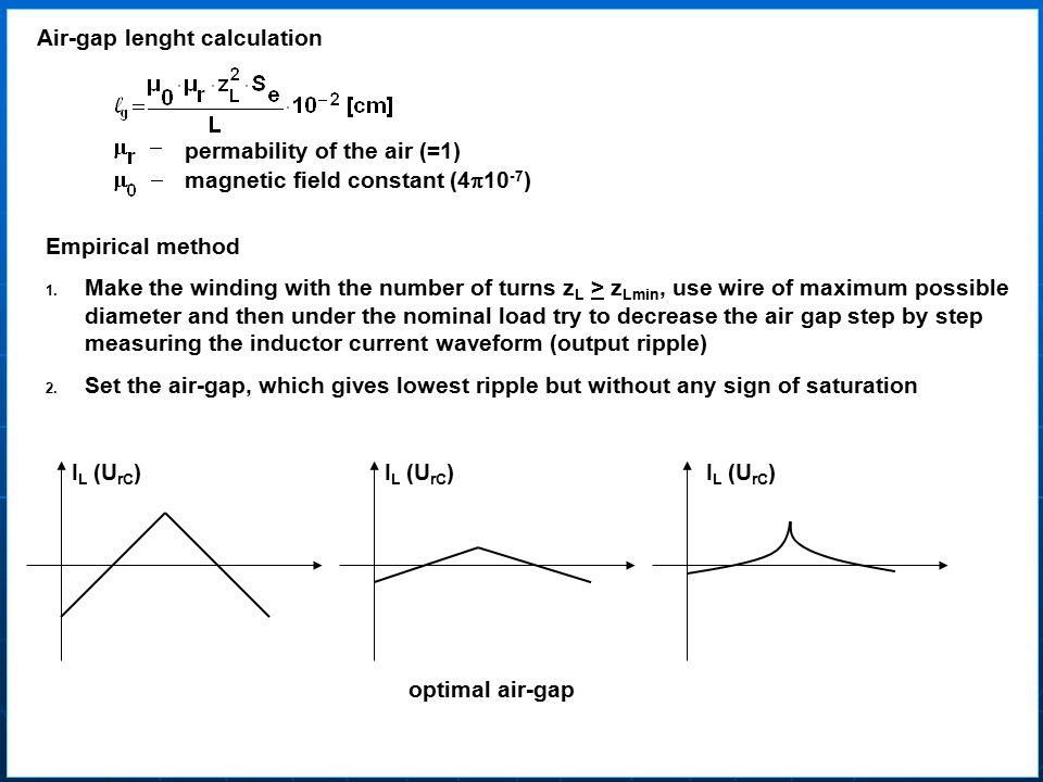 Air-gap lenght calculation permability of the air (=1) magnetic field constant (4  10 -7 ) Empirical method 1.