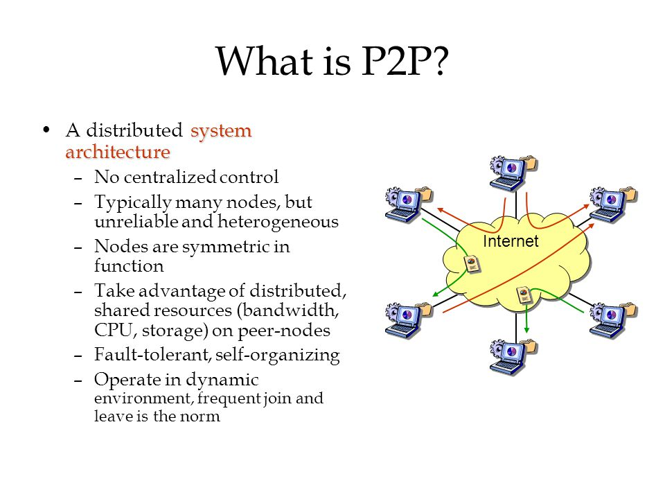 What is P2P? system architectureA distributed system architecture –No centralized control –Typically many nodes, but unreliable and heterogeneous –Nod