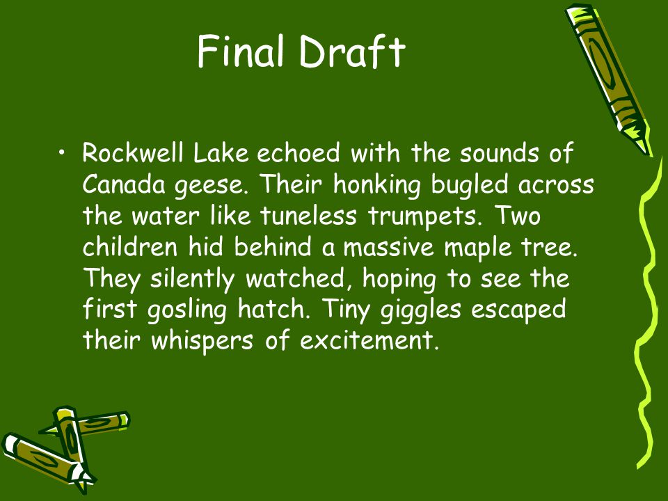 Final Draft Rockwell Lake echoed with the sounds of Canada geese. Their honking bugled across the water like tuneless trumpets. Two children hid behin