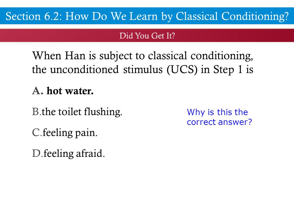 When Han is subject to classical conditioning, the unconditioned stimulus (UCS) in Step 1 is A.