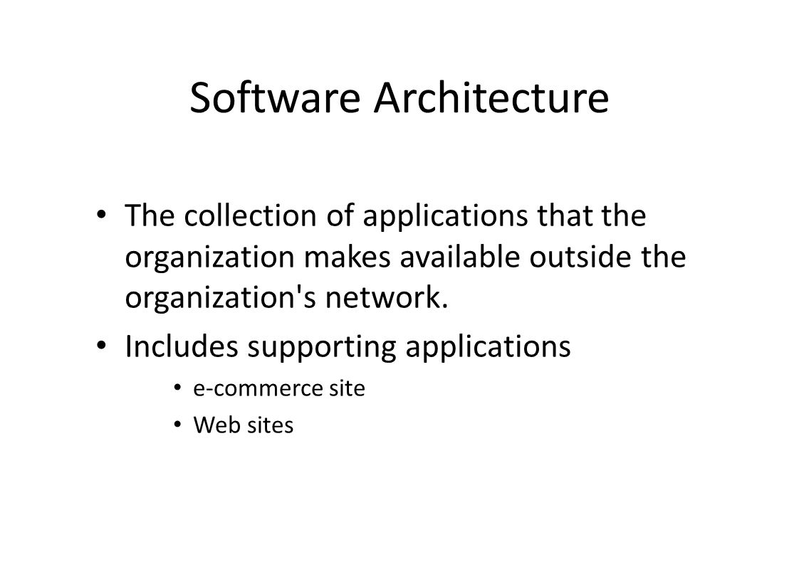 Software Architecture The collection of applications that the organization makes available outside the organization s network.