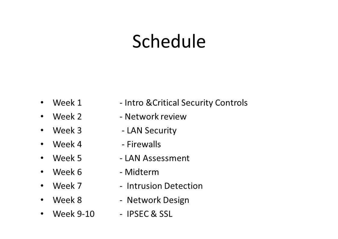 Schedule Week 1- Intro &Critical Security Controls Week 2- Network review Week 3 - LAN Security Week 4 - Firewalls Week 5- LAN Assessment Week 6- Midterm Week 7 - Intrusion Detection Week 8- Network Design Week 9-10- IPSEC & SSL