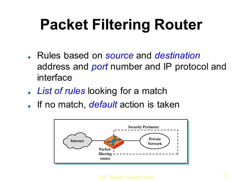 IUT– Network Security Course 10 Packet Filtering Router Rules based on source and destination address and port number and IP protocol and interface List of rules looking for a match If no match, default action is taken