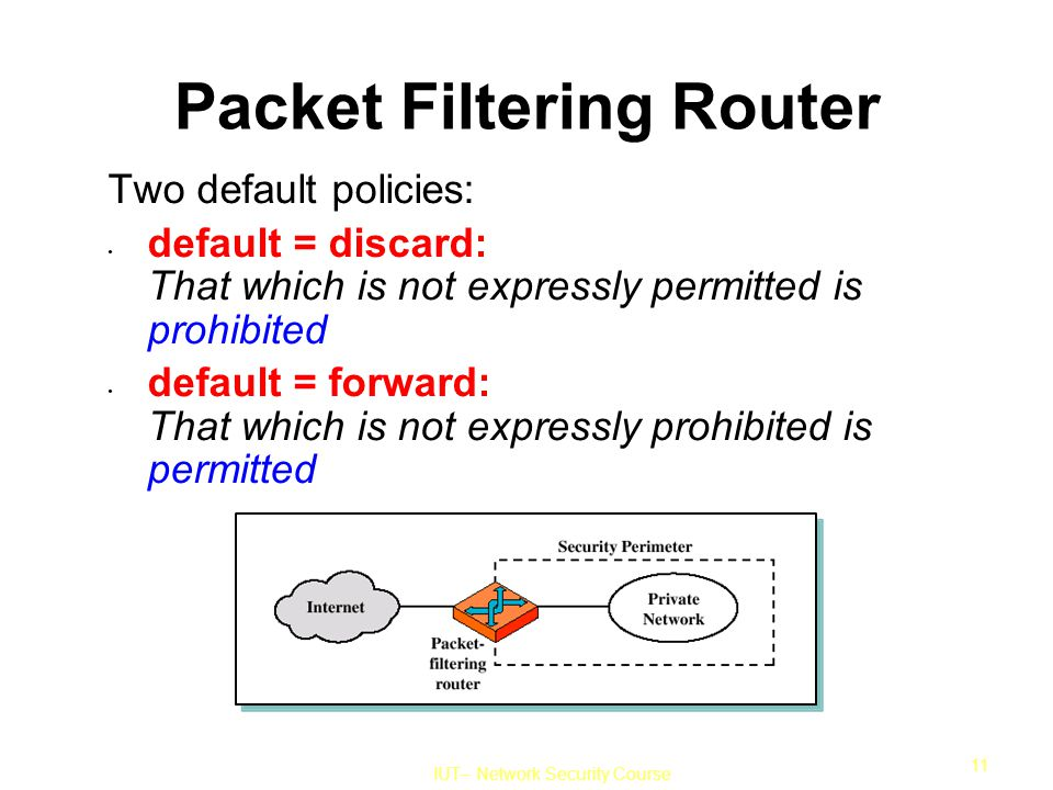 IUT– Network Security Course 11 Packet Filtering Router Two default policies: default = discard: That which is not expressly permitted is prohibited default = forward: That which is not expressly prohibited is permitted