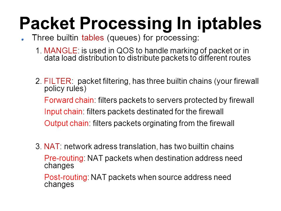 Packet Processing In iptables Three builtin tables (queues) for processing: 1.