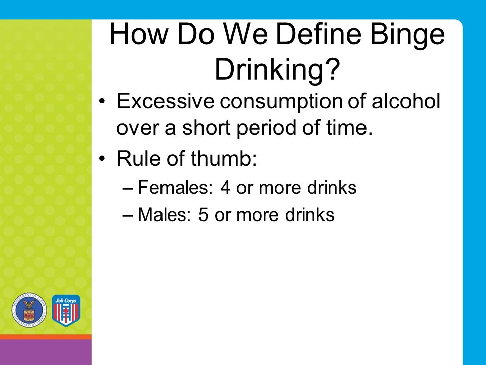 Amount Consumed Know amount of standard drink (12 oz bottle of beer; 1.5 oz shot of 80 proof liquor or 5 oz glass of wine) Don't consume more than: –Females—4 or more standard drinks –Males—5 or more standard drinks Drink Slowly