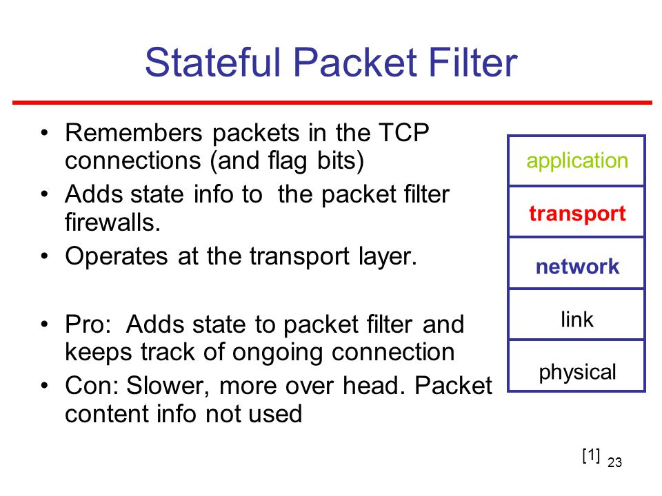23 Stateful Packet Filter Remembers packets in the TCP connections (and flag bits) Adds state info to the packet filter firewalls.