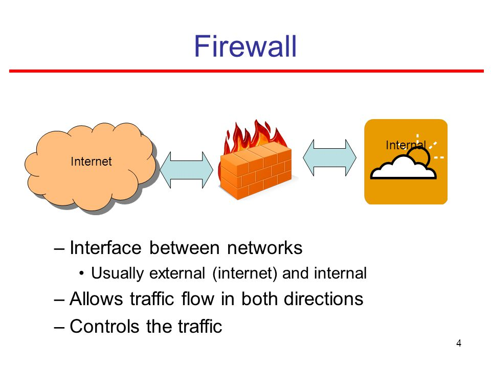 4 Firewall –Interface between networks Usually external (internet) and internal –Allows traffic flow in both directions –Controls the traffic Internet Internal