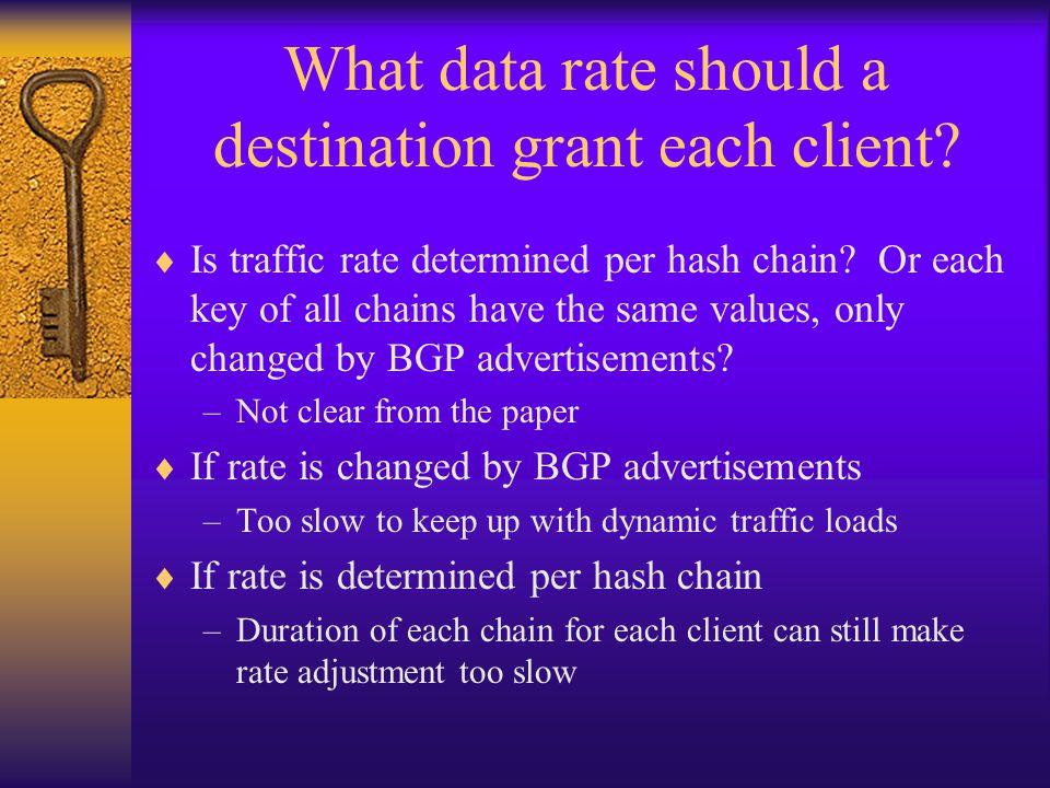 What data rate should a destination grant each client.