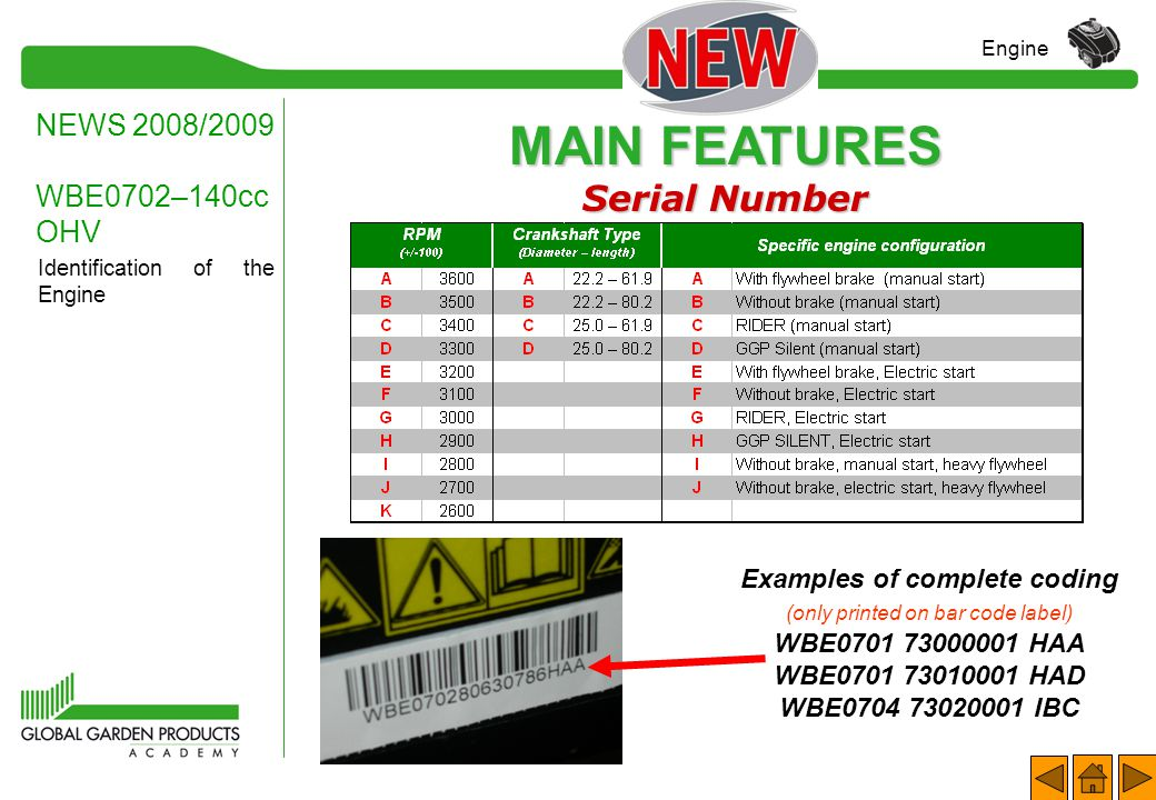 MAIN FEATURES Serial Number NEWS 2008/2009 WBE0702–140cc OHV Engine Identification of the Engine All the engines have a serial number stamped on the b