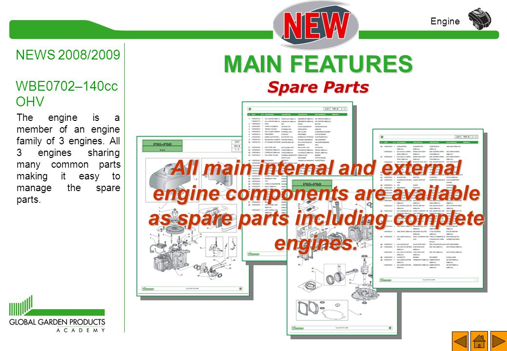 MAIN FEATURES Serial Number NEWS 2008/2009 WBE0702–140cc OHV Engine Identification of the Engine Examples of complete coding (only printed on bar code