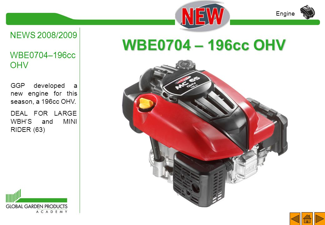 MAIN FEATURES Spare Parts and Service NEWS 2008/2009 WBE0702–140cc OHV Engine ENGINE COVER On the engine, the long oil shaft has been removed. To clos