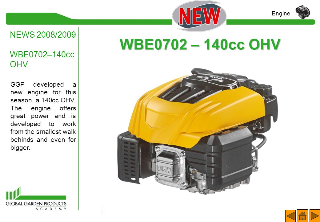 NEWS 2008/2009 GGP ENGINES 1.WBE0702 – 140cc OHV (WBH / Tiller); 2.WBE0704 – 196cc OHV (WBH / Rider); 3.……; 4.……; 5.……; 6.……. Engine