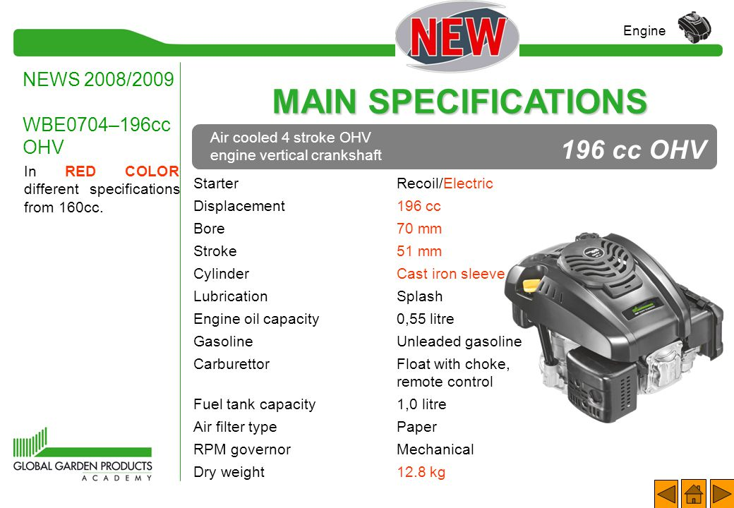 GGP developed a new engine for this season, a 196cc OHV. DEAL FOR LARGE WBH'S and MINI RIDER (63) WBE0704 – 196cc OHV NEWS 2008/2009 WBE0704–196cc OHV