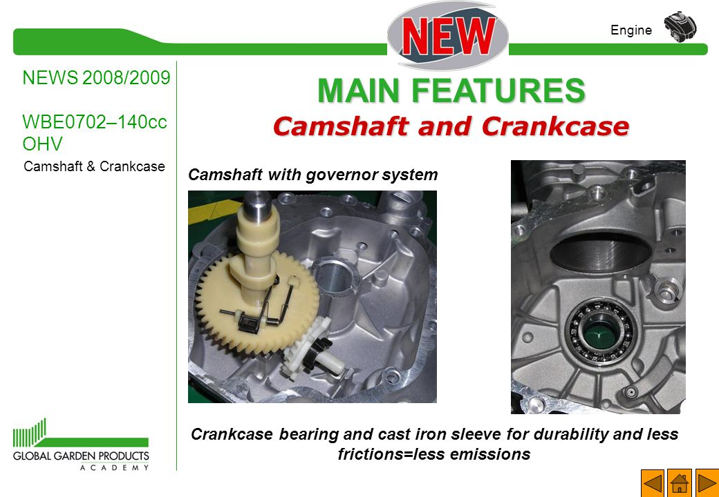 MAIN FEATURES Robust Starter Mechanism NEWS 2008/2009 WBE0702–140cc OHV Engine Recoil starter: strong by design.
