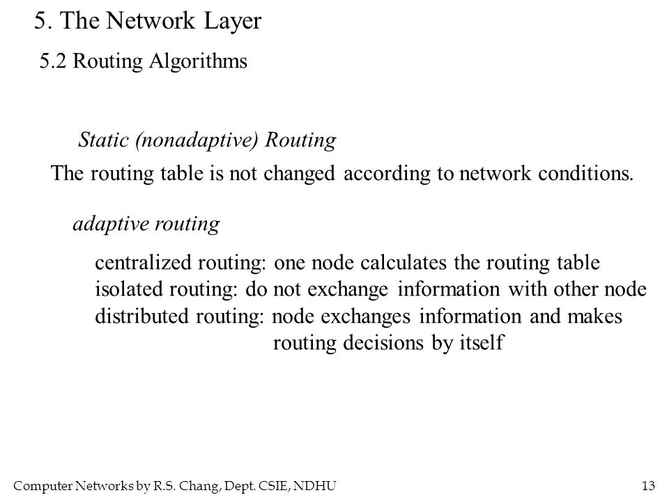 Computer Networks by R.S. Chang, Dept. CSIE, NDHU13 5. The Network Layer 5.2 Routing Algorithms Static (nonadaptive) Routing The routing table is not