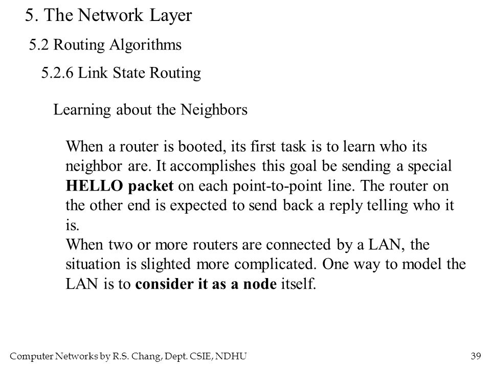 Computer Networks by R.S. Chang, Dept. CSIE, NDHU39 5. The Network Layer 5.2 Routing Algorithms 5.2.6 Link State Routing Learning about the Neighbors