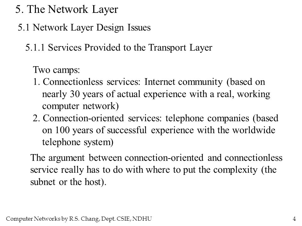 Computer Networks by R.S. Chang, Dept. CSIE, NDHU4 5. The Network Layer 5.1 Network Layer Design Issues 5.1.1 Services Provided to the Transport Layer