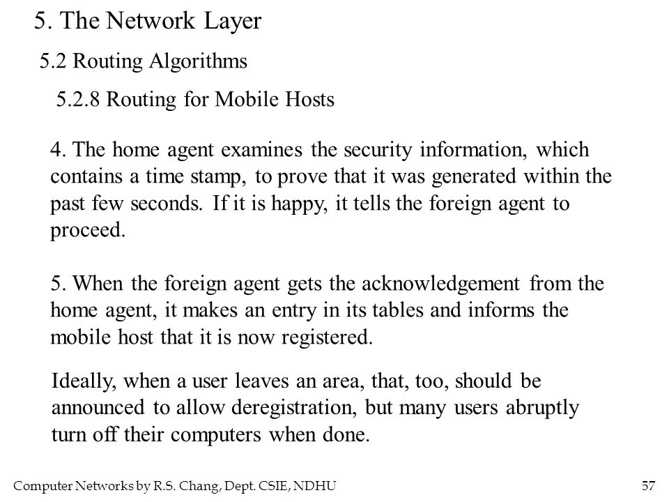 Computer Networks by R.S. Chang, Dept. CSIE, NDHU57 5. The Network Layer 5.2 Routing Algorithms 5.2.8 Routing for Mobile Hosts 4. The home agent exami