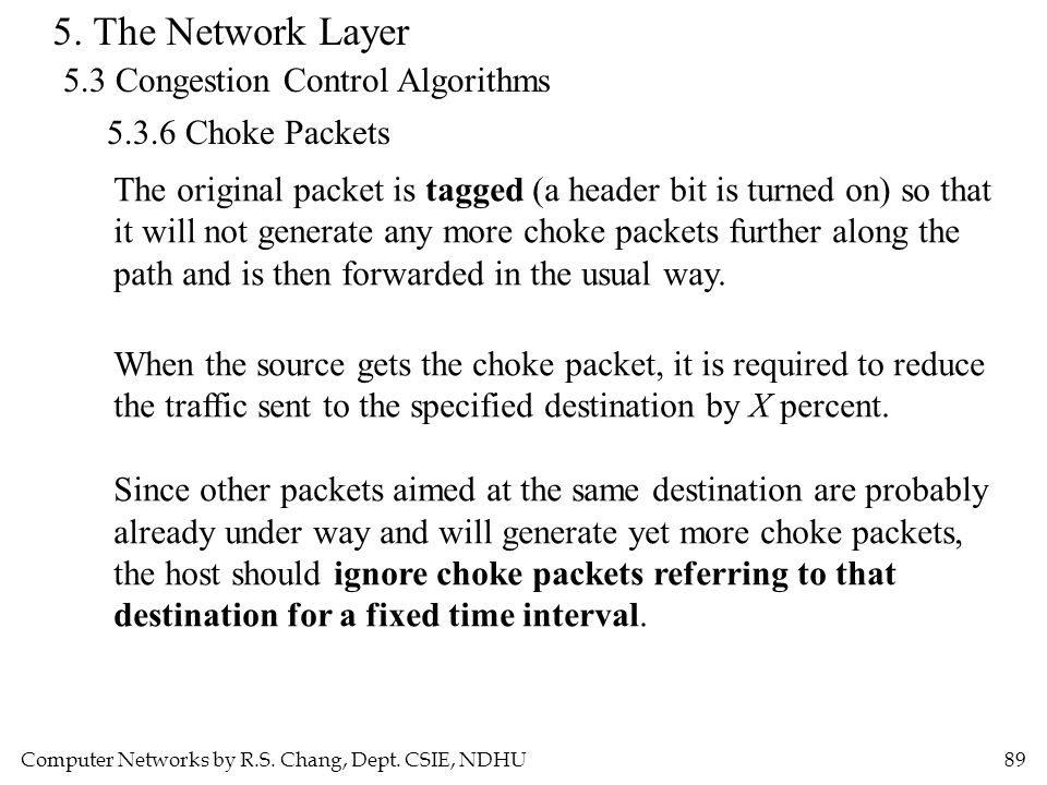 Computer Networks by R.S. Chang, Dept. CSIE, NDHU89 5. The Network Layer 5.3 Congestion Control Algorithms 5.3.6 Choke Packets The original packet is