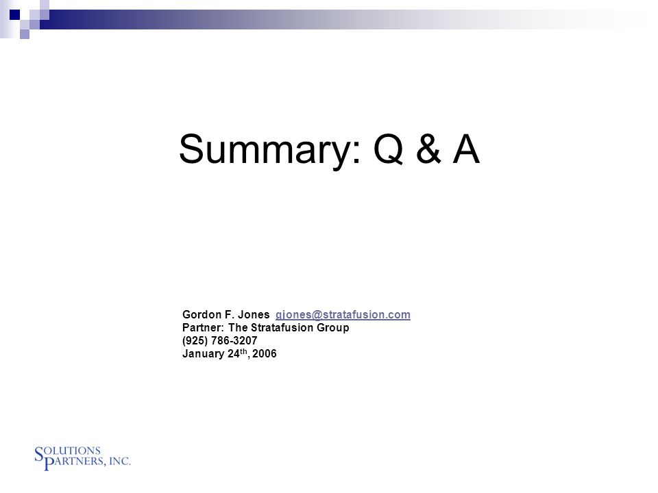 Summary: Q & A Gordon F.