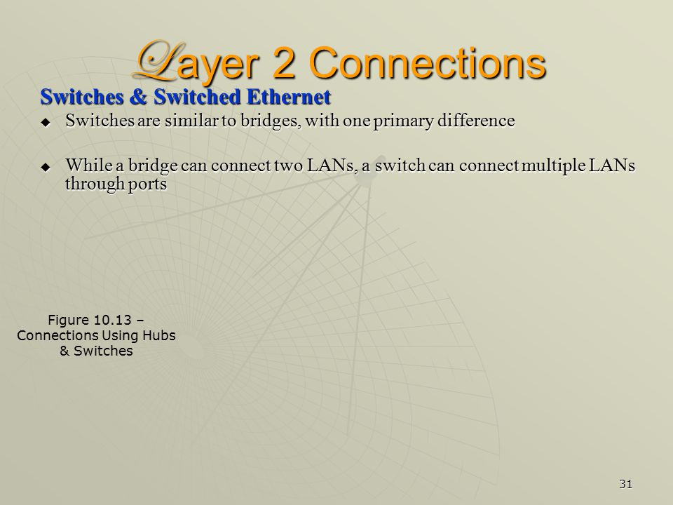 31 L ayer 2 Connections Switches & Switched Ethernet  Switches are similar to bridges, with one primary difference  While a bridge can connect two LANs, a switch can connect multiple LANs through ports Figure 10.13 – Connections Using Hubs & Switches