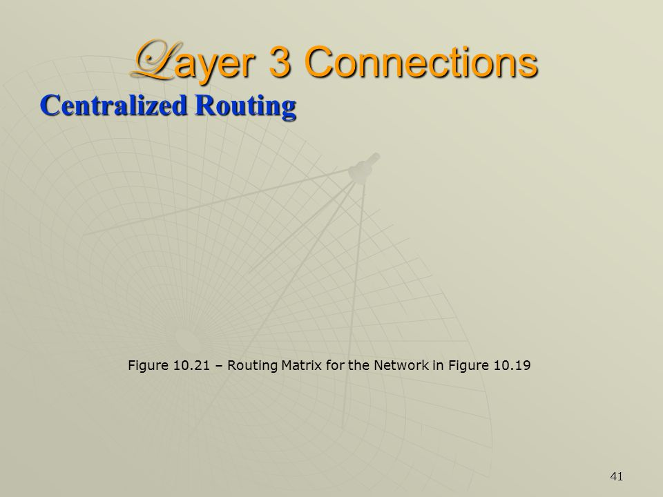 41 L ayer 3 Connections Centralized Routing Figure 10.21 – Routing Matrix for the Network in Figure 10.19