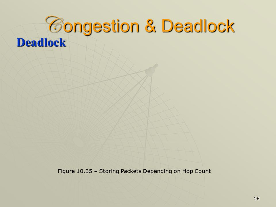 58 C ongestion & Deadlock Deadlock Figure 10.35 – Storing Packets Depending on Hop Count