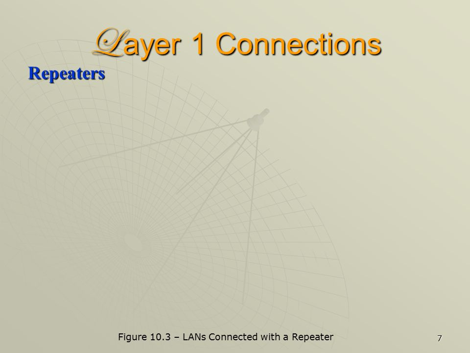 7 L ayer 1 Connections Repeaters Figure 10.3 – LANs Connected with a Repeater