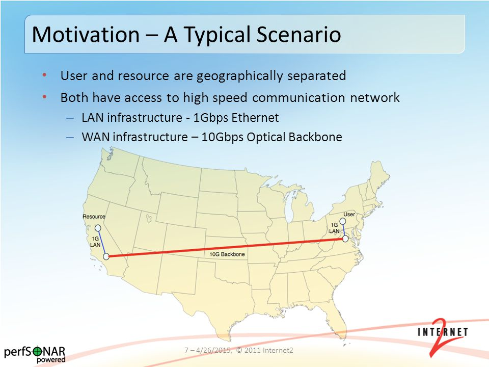 User and resource are geographically separated Both have access to high speed communication network – LAN infrastructure - 1Gbps Ethernet – WAN infrastructure – 10Gbps Optical Backbone 7 – 4/26/2015, © 2011 Internet2 Motivation – A Typical Scenario