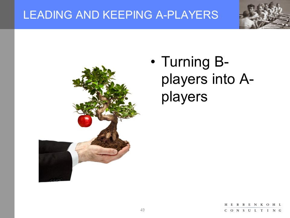 49 LEADING AND KEEPING A-PLAYERS Turning B- players into A- players