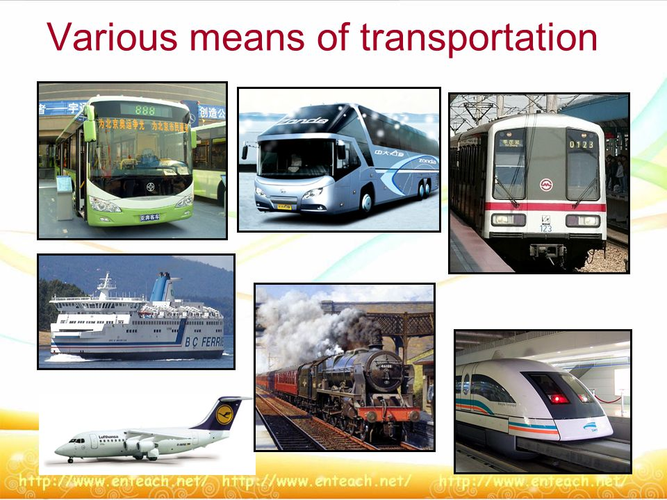 Various means of transportation