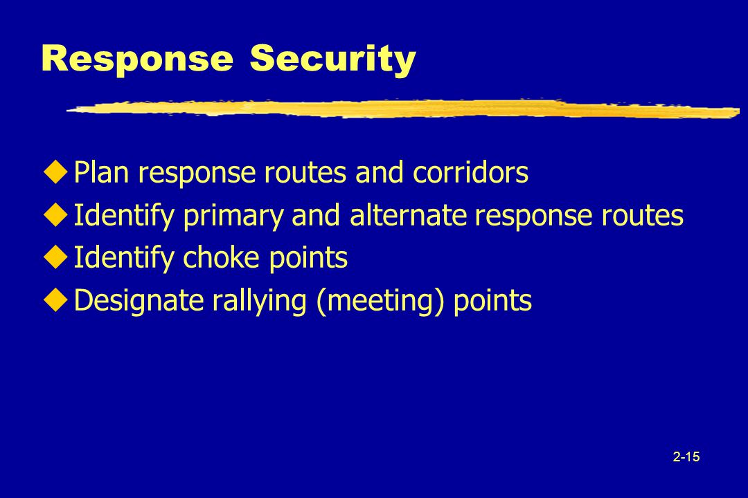 2-15 Response Security uPlan response routes and corridors uIdentify primary and alternate response routes uIdentify choke points uDesignate rallying (meeting) points