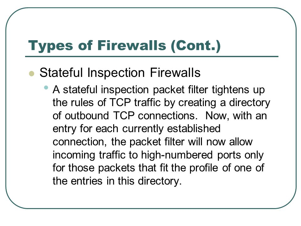 Types of Firewalls (Cont.) Stateful Inspection Firewalls A stateful inspection packet filter tightens up the rules of TCP traffic by creating a direct