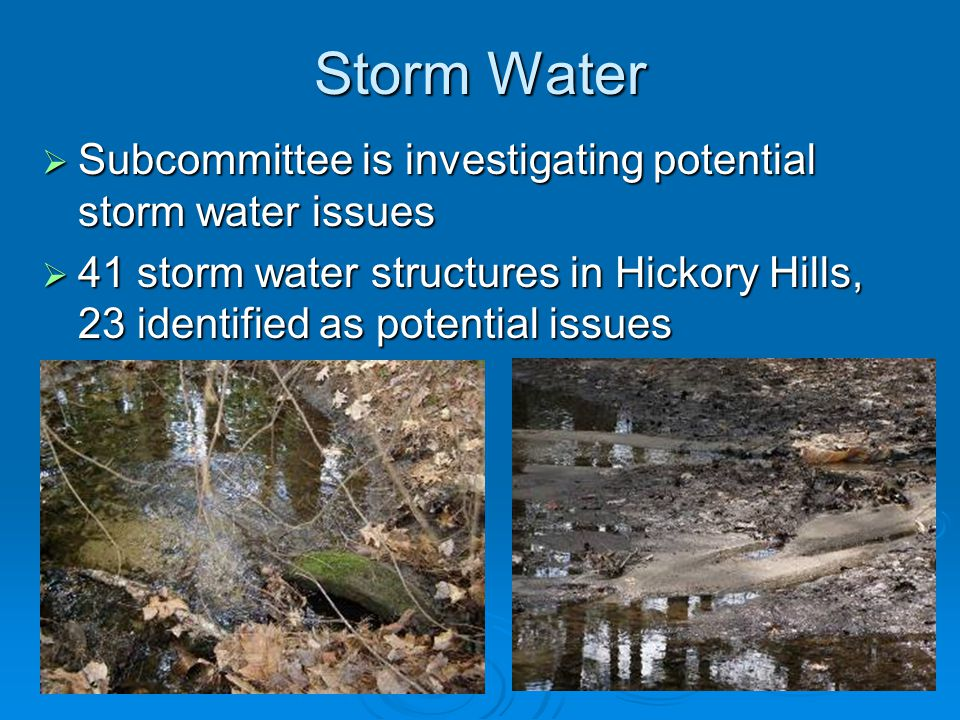 Storm Water  Subcommittee is investigating potential storm water issues  41 storm water structures in Hickory Hills, 23 identified as potential issu