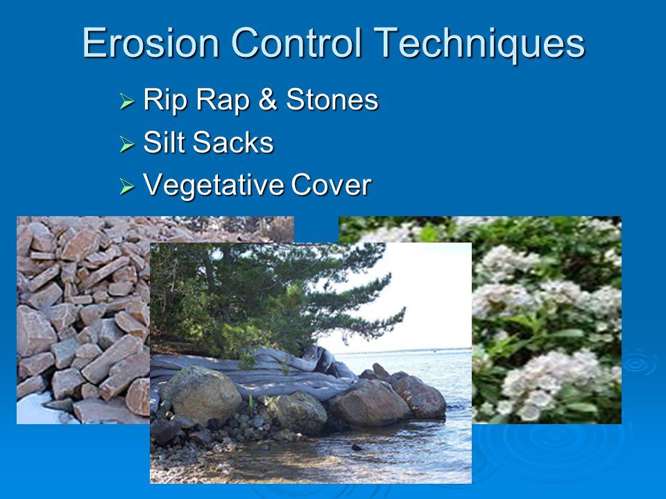 Erosion Control Techniques  Rip Rap & Stones  Silt Sacks  Vegetative Cover
