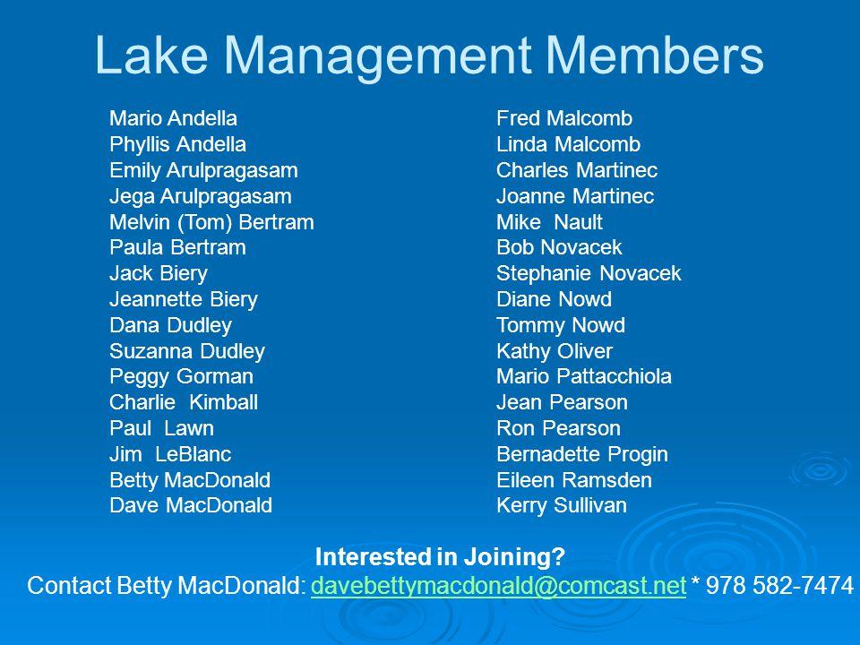 Lake Management Members Mario Andella Phyllis Andella Emily Arulpragasam Jega Arulpragasam Melvin (Tom) Bertram Paula Bertram Jack Biery Jeannette Bie