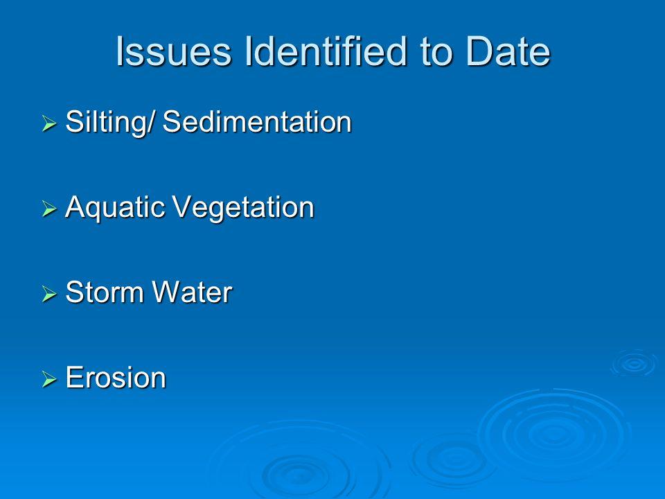 Issues Identified to Date  Silting/ Sedimentation  Aquatic Vegetation  Storm Water  Erosion