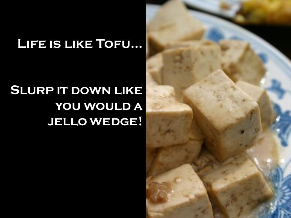 Life is like Tofu… Slurp it down like you would a jello wedge!
