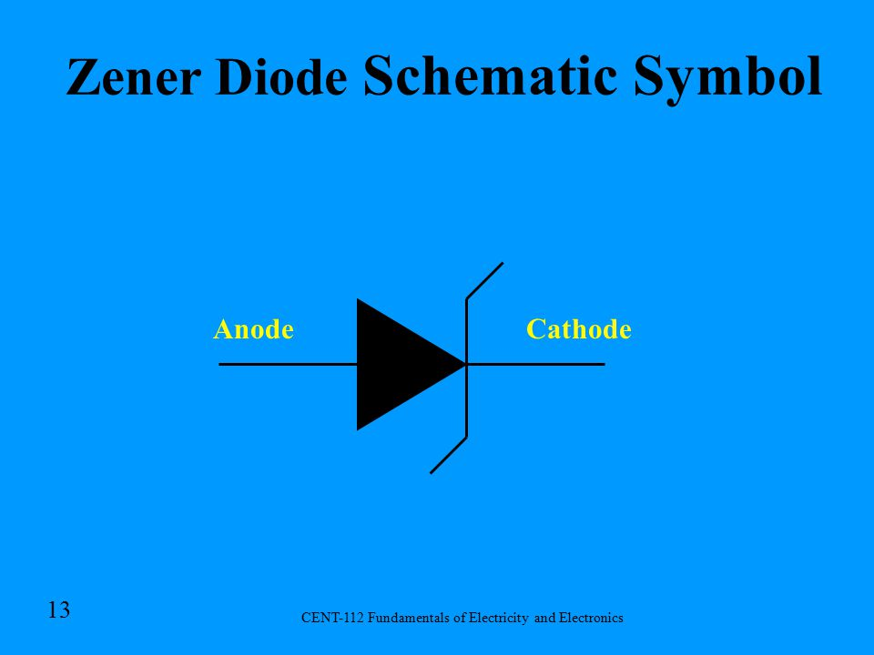 CENT-112 Fundamentals of Electricity and Electronics 12 Zener Diode –The Zener diode is a heavily doped diode which, as a result of doping, has a very narrow depletion region.